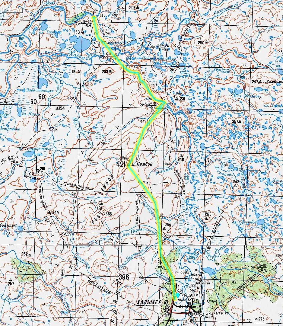 карта 1 день пересечения Пай-Хоя
