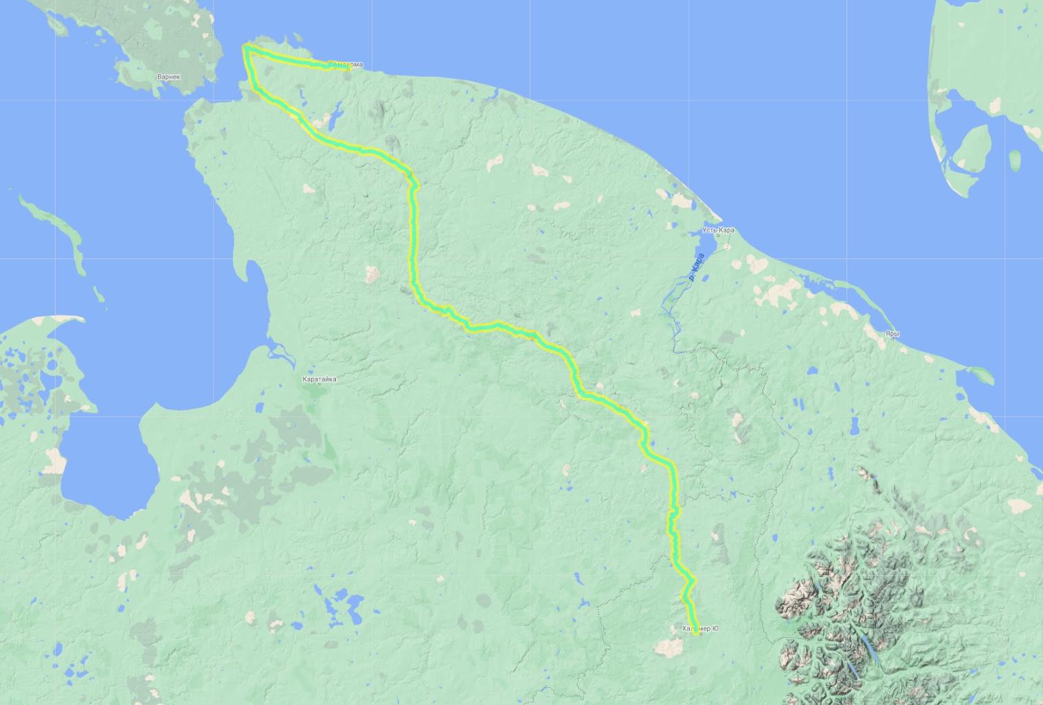 Общий трек маршрута через Пай-Хой