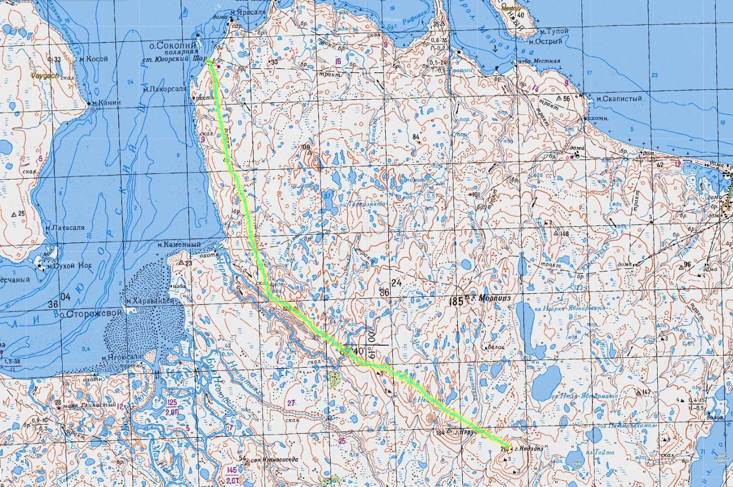 карта 10 день пересечения Пай-Хоя