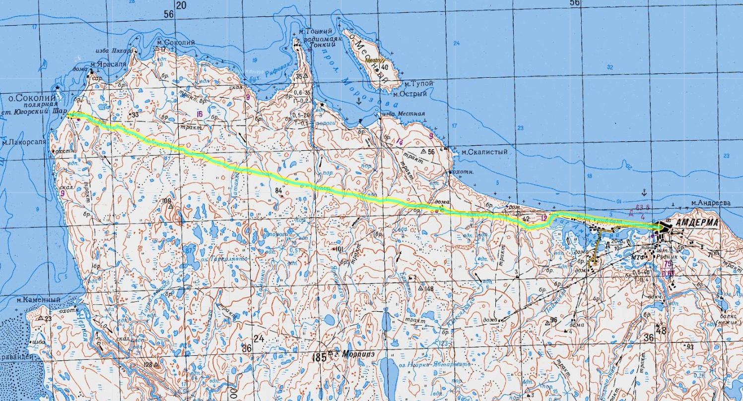 карта 11 дня пересечения Пай-Хоя