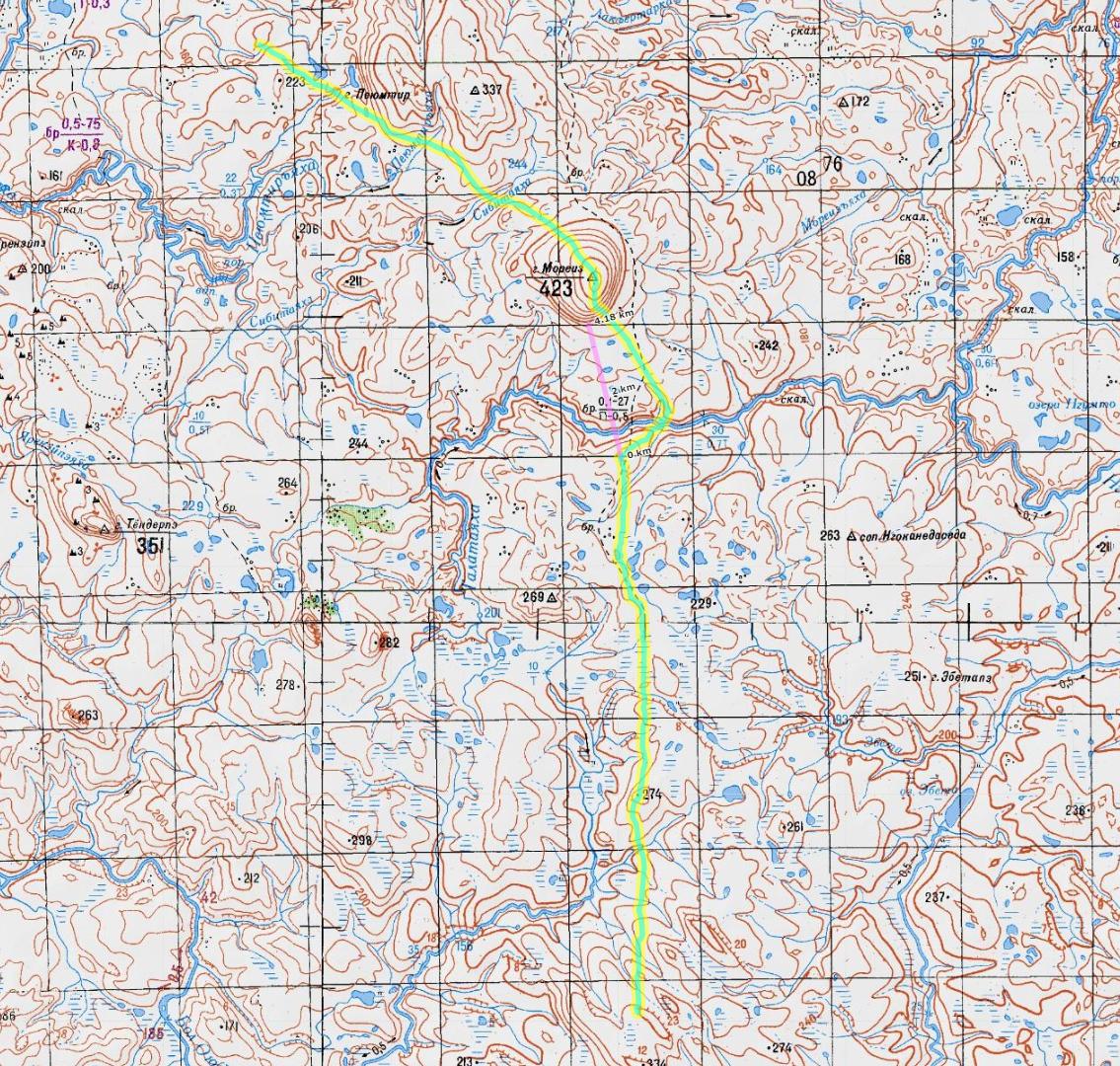 карта 8 день пересечения Пай-Хоя