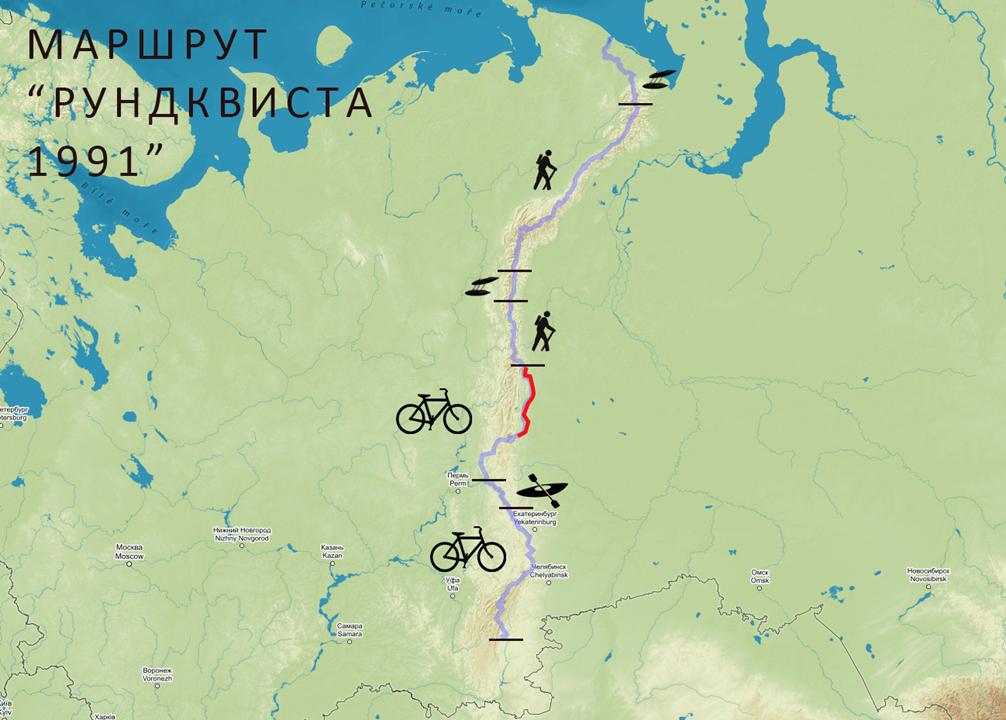Маршрут Рундквиста через Урал